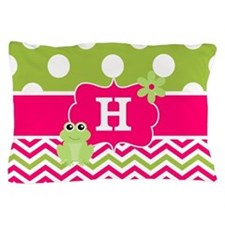 Pink Green Chevron Frog Personalized Pillow Case
