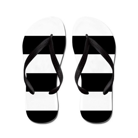 Striped Black and White Flip Flops