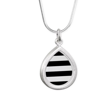 Striped Black and White Silver Teardrop Necklace