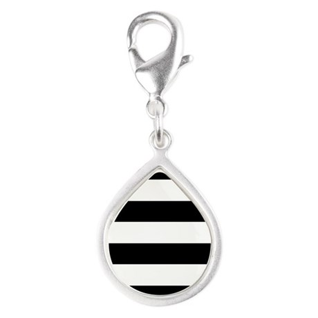 Striped Black and White Silver Teardrop Charm