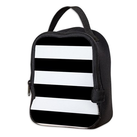 Striped Black and White Neoprene Lunch Bag