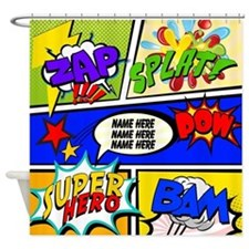 Super Hero Comic Book Shower Curtain