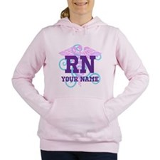 RN swirl with personalized name Women's Hooded Swe