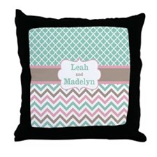 Green Pink Chevron Quatrefoil Personalized Throw Pillow