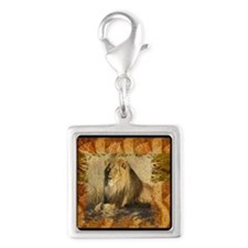 Lion Stamp Silver Square Charm