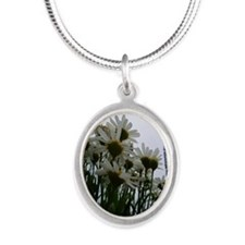Pushing Daisies Silver Oval Necklace