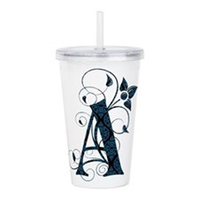 Floral Monogram Letter Acrylic Double-Wall Tumbler