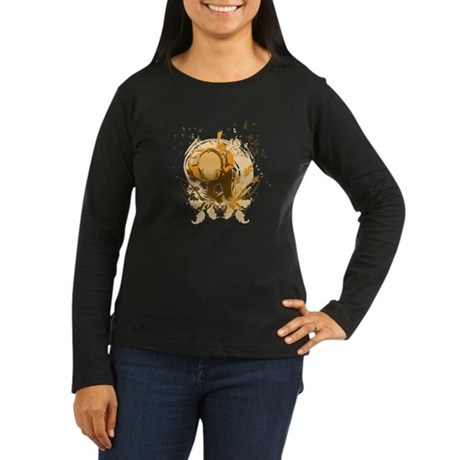 Retro Drummer Women's Long Sleeve Dark T-Shirt