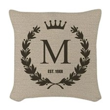 Custom Initial Logo Monogrammed Woven Throw Pillow