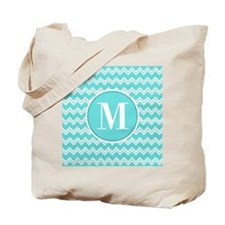 Turquoise Chevron Zigzag Pattern with Monogram Tot