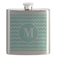 Turquoise Chevron Zigzag Pattern with Monogram Fla