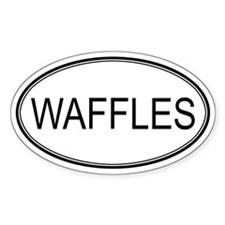WAFFLES (oval) Oval Decal