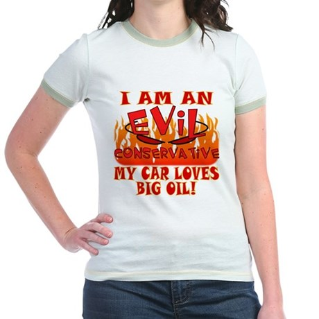 Big Oil Evil Conservative Jr. Ringer T-Shirt
