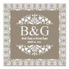 Personalize Bride And Groom Monogrammed Gift Squar