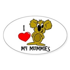 I Love My Mummies Koala Oval Decal