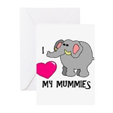 I Love My Mummies Elephant Greeting Cards (Package
