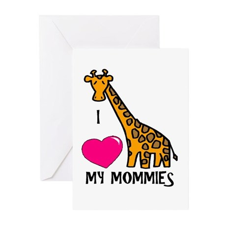 I Love My Mommies Giraffe Greeting Cards (Package