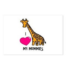 I Love My Mummies Giraffe Postcards (Package of 8)
