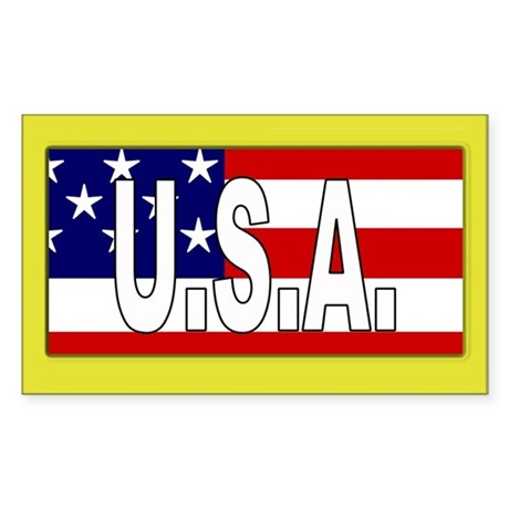 USA Patriotic Rectangle Sticker