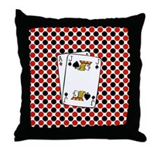 Red Black Cards Throw Pillow