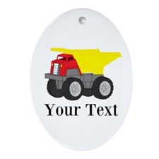 Personalizable Dump Truck Ornament (Oval)