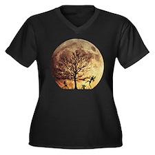 Moon Dance Women's Plus Size V-Neck Dark T-Shirt