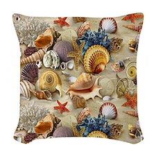 Seashells And Starfish Woven Throw Pillow