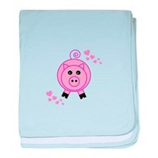 Pink Pig With Hearts baby blanket