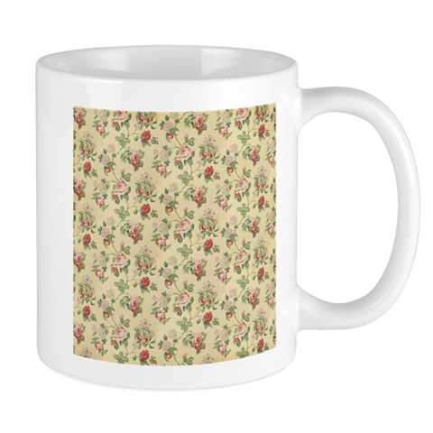 Yellow Vintage Antique Victorian Roses Mugs