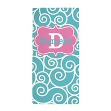 Teal Pink Swirls Personalized Beach Towel