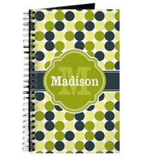 Blue Green Dots Quatrefoil Monogram Journal