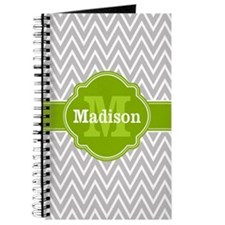 Grey Chevron Lime Quatrefoil Monogram Journal