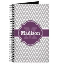 Grey Chevron Purple Quatrefoil Monogram Journal