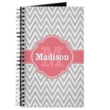 Grey Chevron Pink Quatrefoil Monogram Journal