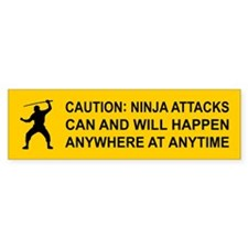 Caution: NINJA ATTACKS... Bumper Bumper Sticker