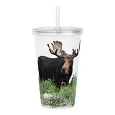 Moose Eating Flowers Acrylic Double-wall Tumbler