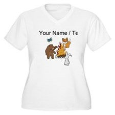 Custom Camp Fire Animals Plus Size T-Shirt