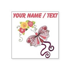Custom Pink Butterfly And Flowers Sticker