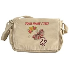 Custom Pink Butterfly And Flowers Messenger Bag