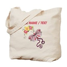 Custom Pink Butterfly And Flowers Tote Bag
