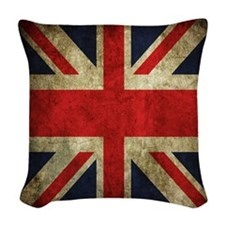 Grunge Uk Flag Woven Throw Pillow