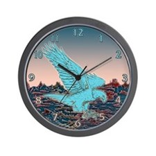 Turquoise Eagle At Dawn Wall Clock