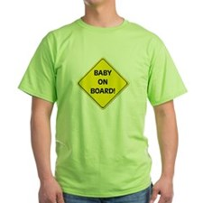 baby on board green t-shirt