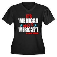 'Merican not Women's Plus Size V-Neck Dark T-Shirt