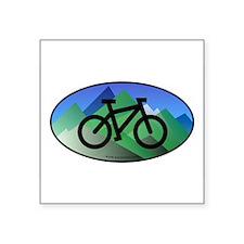 "Funny Biking Square Sticker 3"" x 3"""