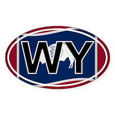 Wy - Wyoming Oval Car Sticker Flag Design