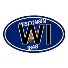 Wi - Wisconsin Oval Car Sticker Flag Design