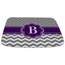 Gray Purple Chevron Monogram Bathmat