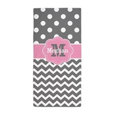 Gray Pink Chevron Dots Personalized Beach Towel