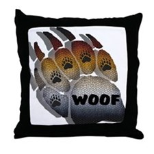 wOOF FURRY BEAR PRIDE PAW Throw Pillow
